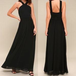 Lulu's Black Maxi Halter Dress